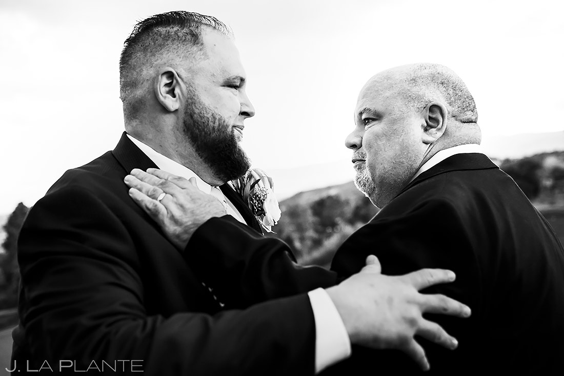 Groom Hugging Wedding Guest | Denver Wedding | Denver Wedding Photographer | J. La Plante Photo