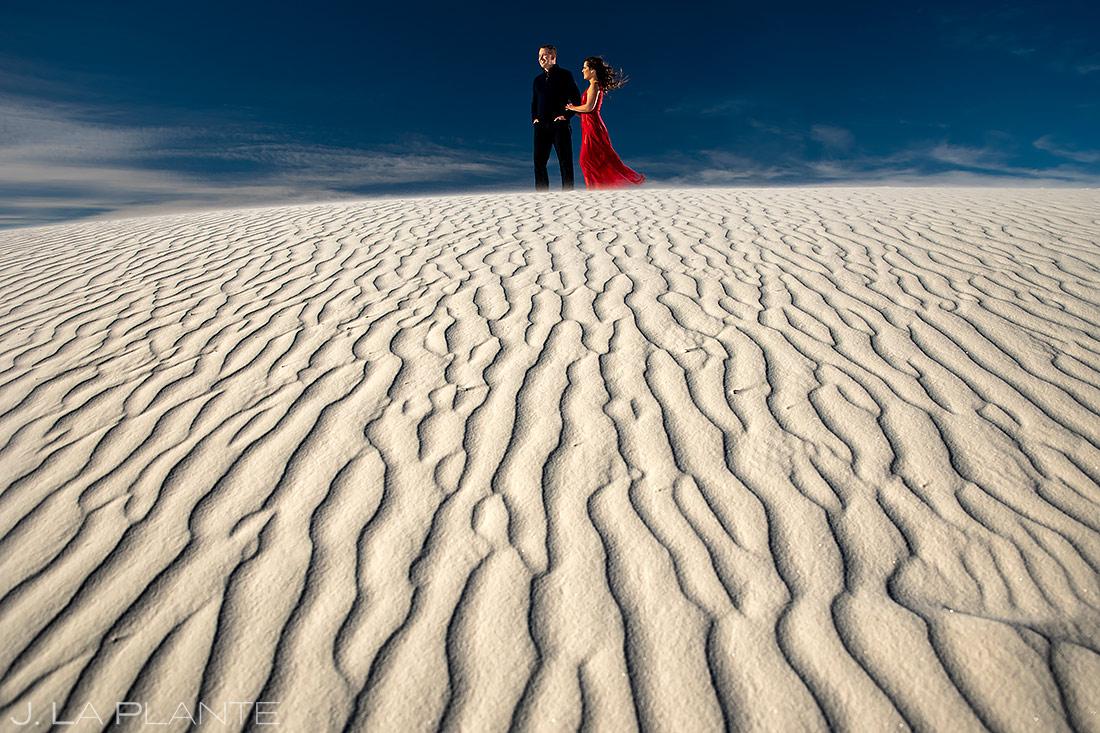 Bride and Groom at Sand Dunes | New Mexico Engagement | Destination Wedding Photographer | J. La Plante Photo
