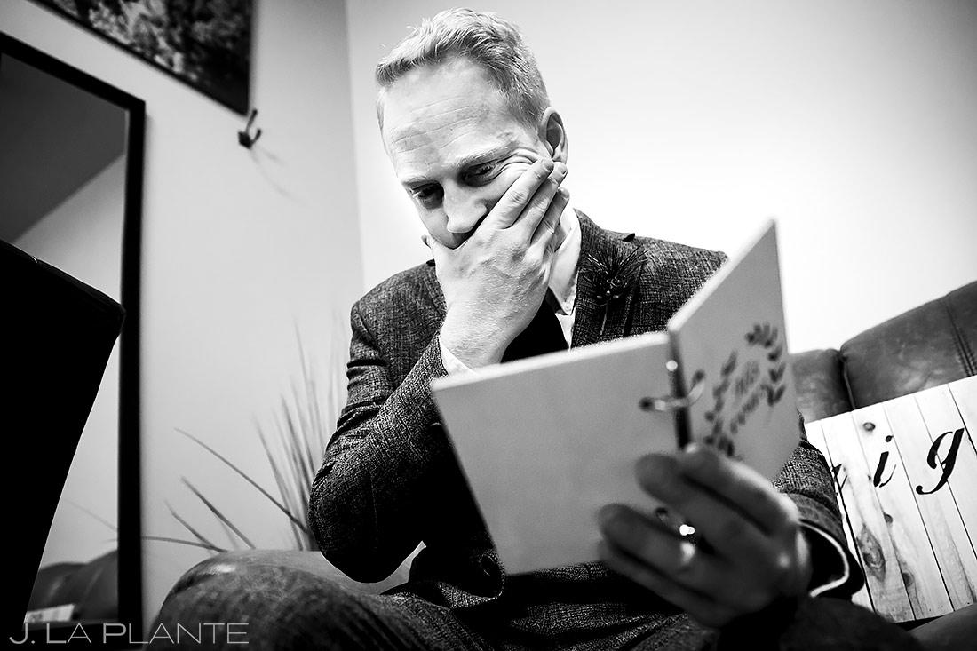 Groom Reading Bride's Letter | Lodge at Cathedral Pines Wedding | Colorado Springs Wedding Photographer | J. La Plante Photo