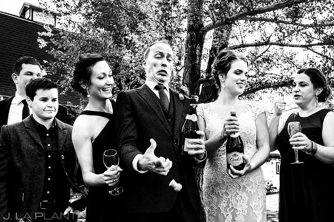 Wedding Party Popping Champagne | Lionsgate Wedding | Boulder Wedding Photographer | J. La Plante Photo