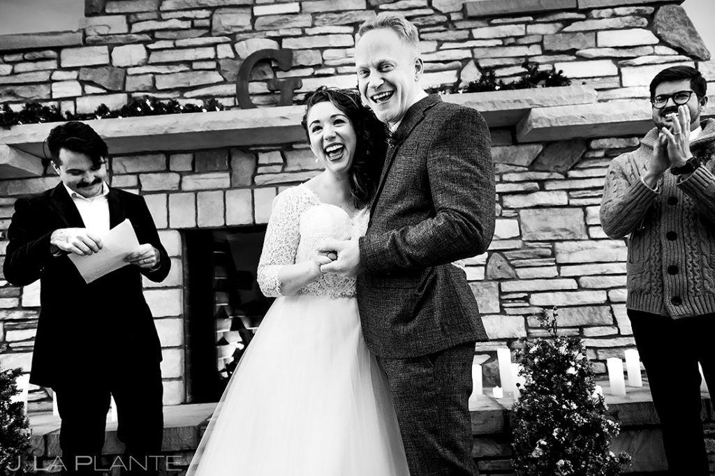 Winter Wedding Ceremony | Lodge at Cathedral Pines Wedding | Colorado Springs Wedding Photographer | J. La Plante Photo
