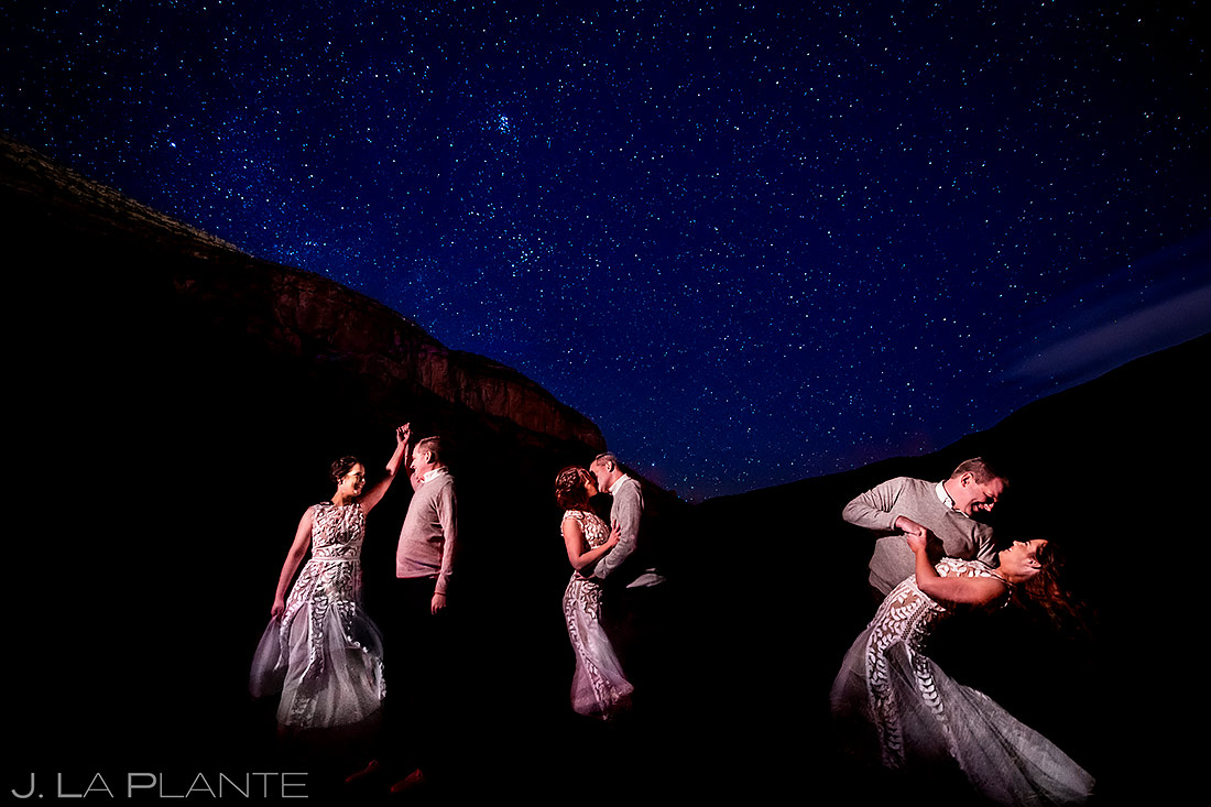 Bride and Groom Dancing Under the Stars | White Sands Engagement | Destination Wedding Photographer | J. La Plante Photo