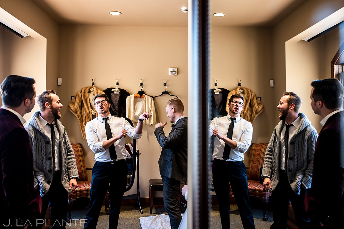 Groomsmen Hanging Out | Lodge at Cathedral Pines Wedding | Colorado Springs Wedding Photographer | J. La Plante Photo