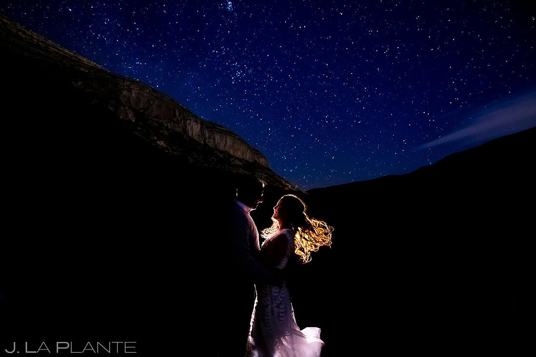 Bride and Groom Dancing Under the Stars | New Mexico Engagement | Destination Wedding Photographer | J. La Plante Photo
