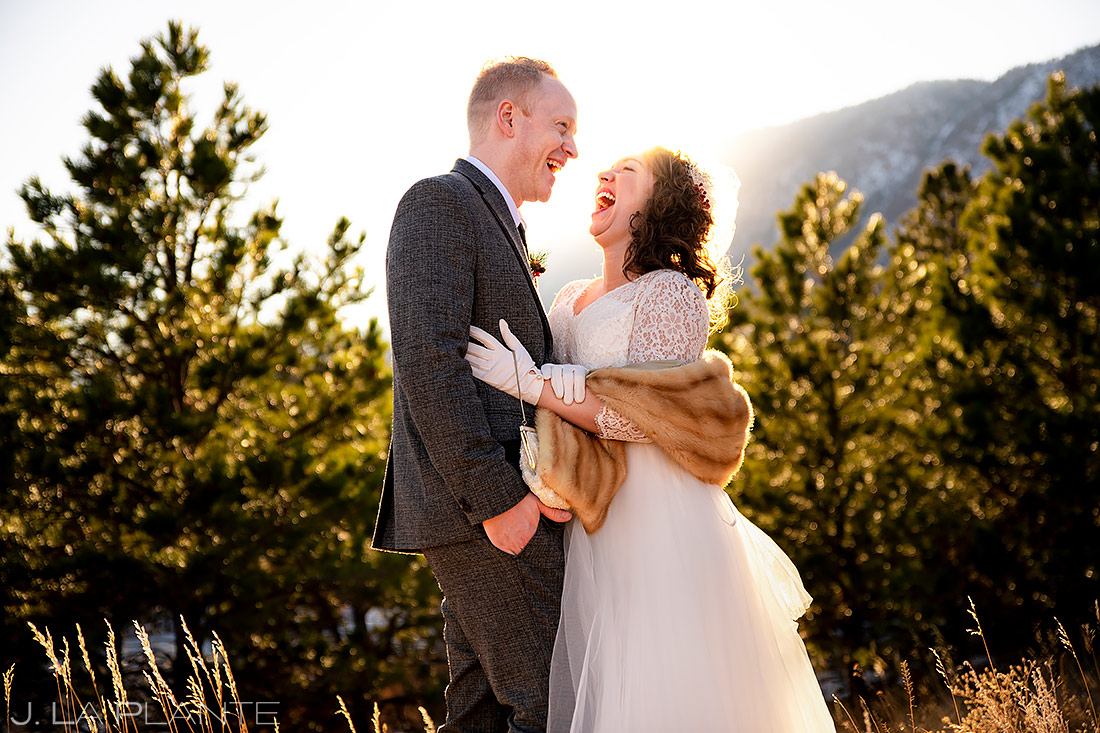 Bride and Groom Sunset Portrait | Lodge at Cathedral Pines Wedding | Colorado Springs Wedding Photographer | J. La Plante Photo