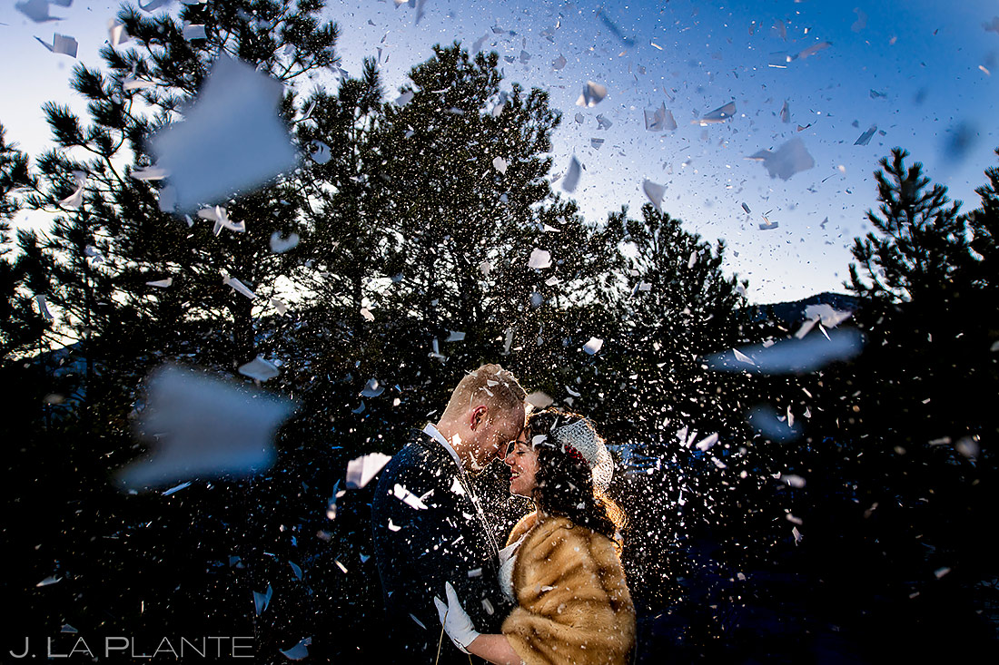 Bride and Groom with Confetti Cannons | Lodge at Cathedral Pines Wedding | Colorado Springs Wedding Photographer | J. La Plante Photo