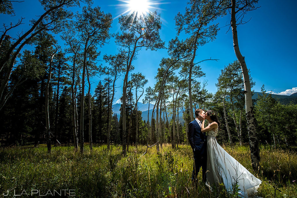 Bride and Groom in Aspen Trees | Dao House Wedding | Estes Park Wedding Photographer | J. La Plante Photo