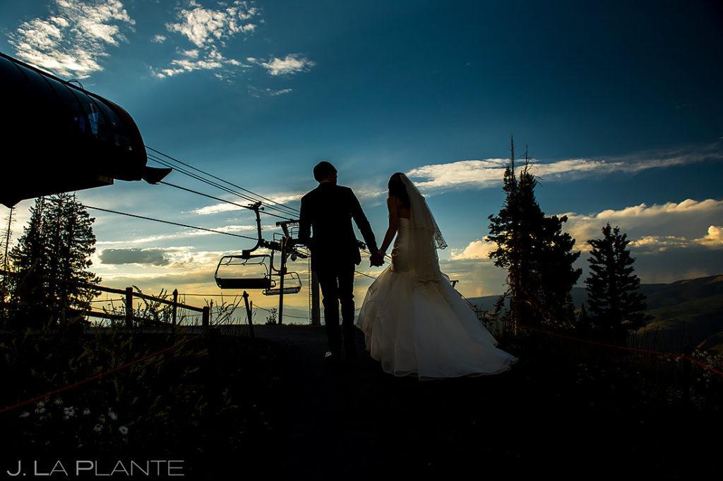 Bride and Groom Silhouettes | Beaver Creek Wedding Deck Wedding | Beaver Creek Wedding Photographer | J. La Plante Photo