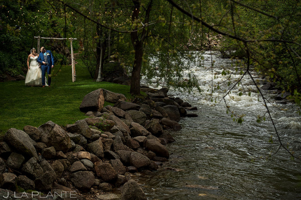 Bride and Groom by River | Boulder Creek Wedgewood Wedding | Boulder Wedding Photographer | J. La Plante Photo