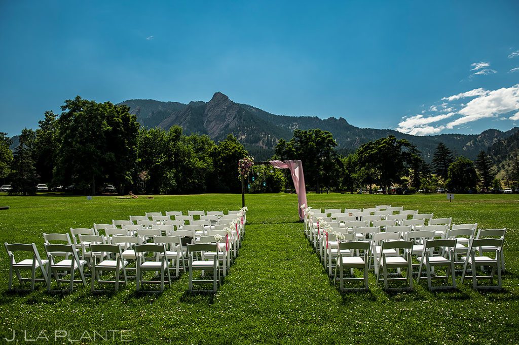 Outdoor Mountain Wedding Ceremony | Chautauqua Dining Hall Wedding | Boulder Wedding Photographer | J. La Plante Photo