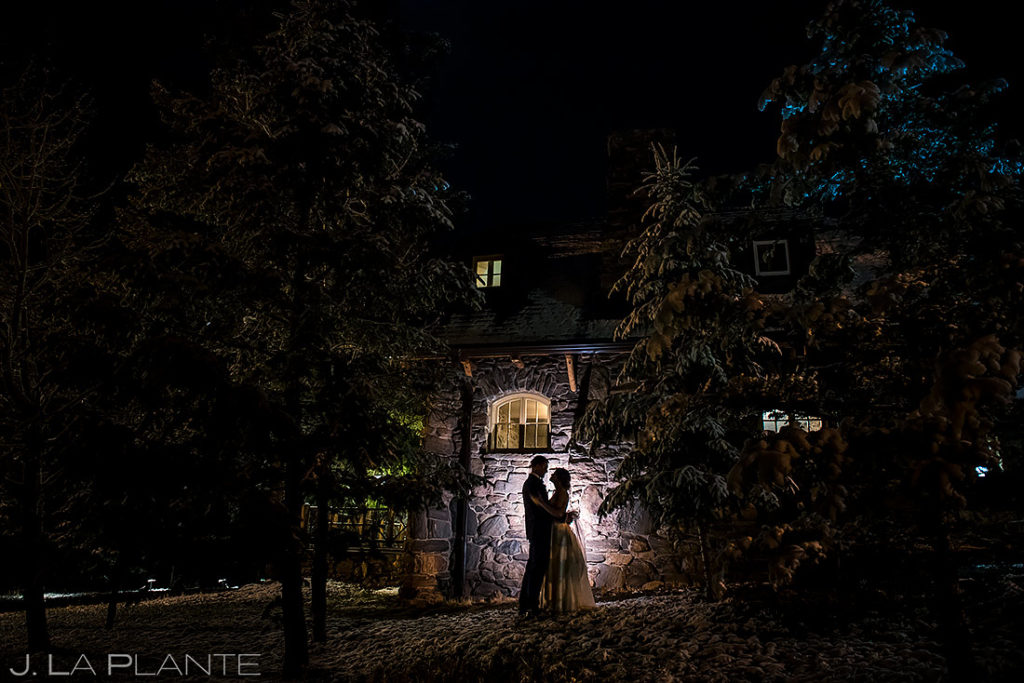 Bride and Groom Nighttime Portrait | Chief Hosa Lodge Wedding | Denver Wedding Photographer | J. La Plante Photo
