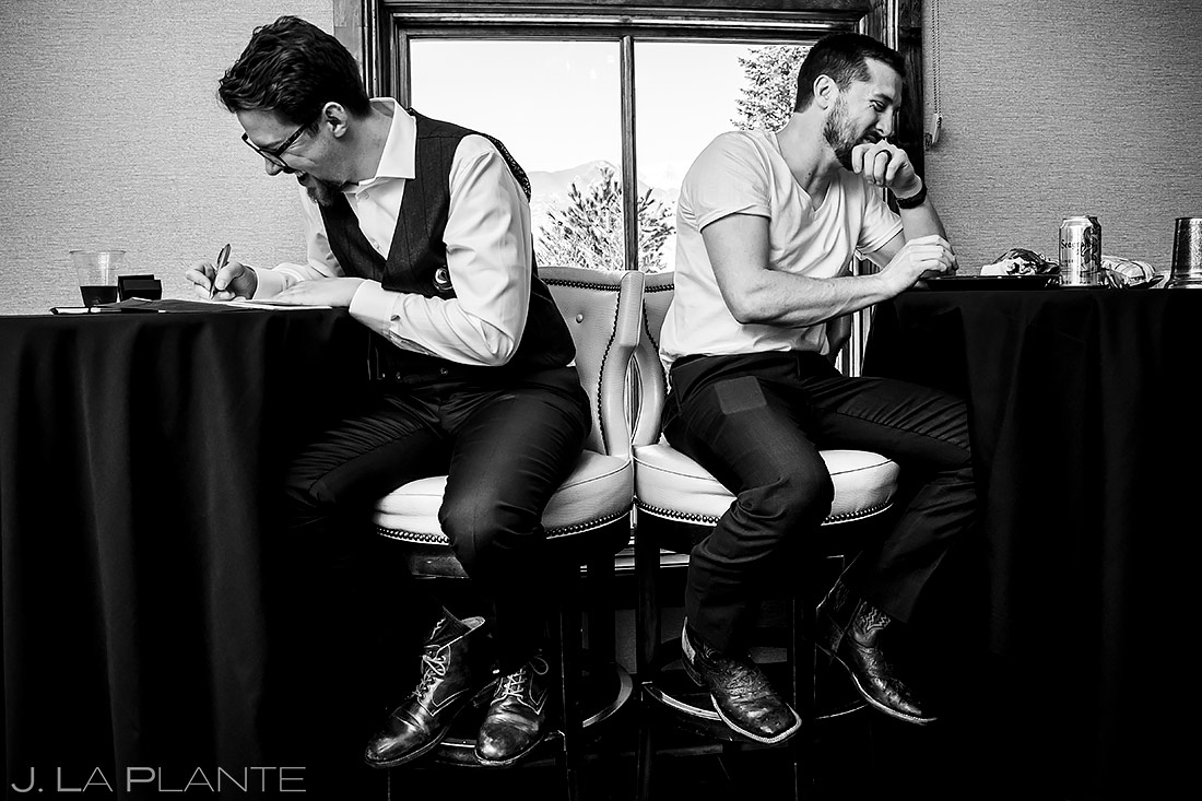 Groom Writing Vows | Pinery at the Hill Wedding | Colorado Springs Wedding Photographer | J. La Plante Photo