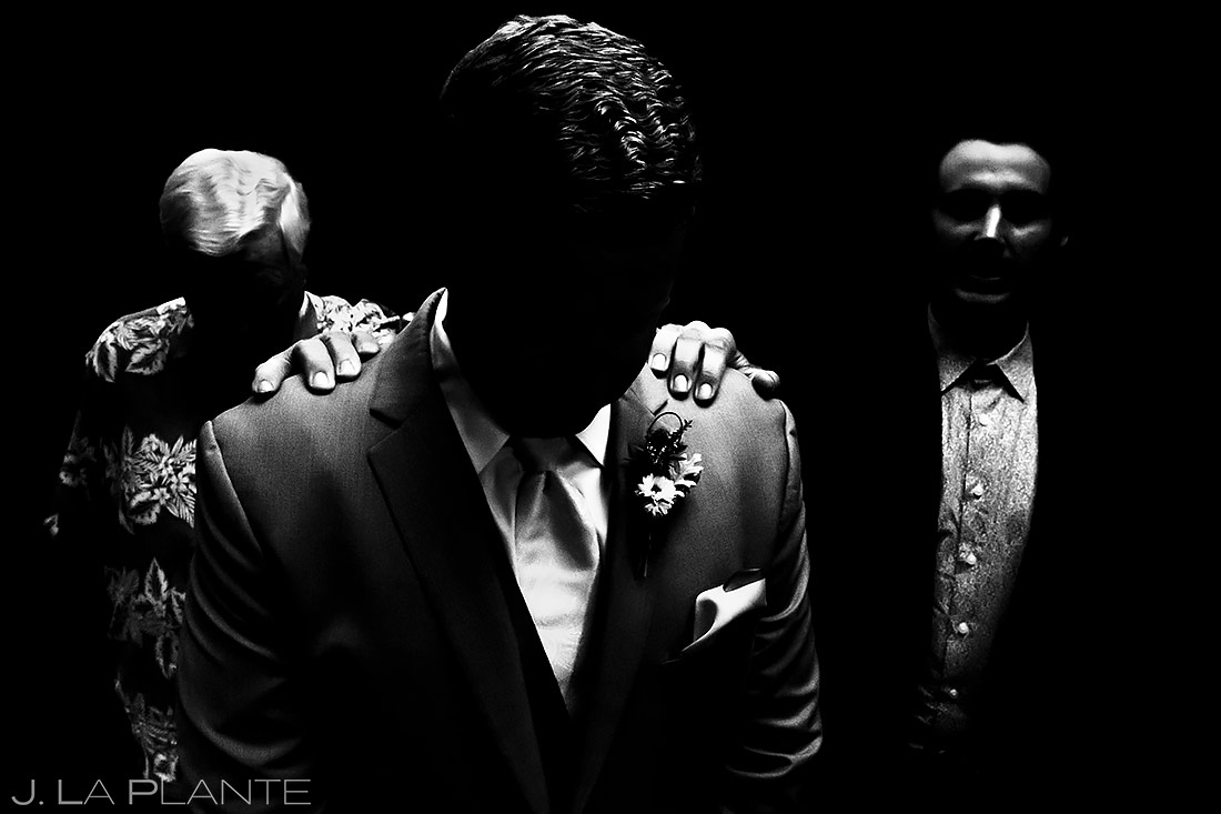 Groom Praying with Groomsmen   Lionsgate Wedding   Boulder Wedding Photographer   J. La Plante Photo