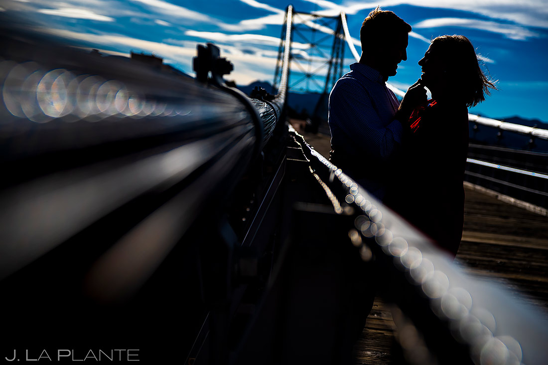 Bride and Groom on Royal Gorge Bridge | Royal Gorge Engagement | Colorado Wedding Photographer | J. La Plante Photo