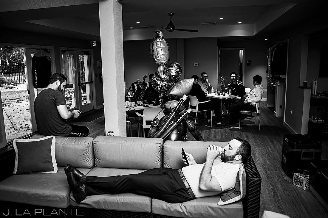 Groomsmen Hanging Out   Sanctuary Golf Course Wedding   Denver Wedding Photographer   J. La Plante Photo