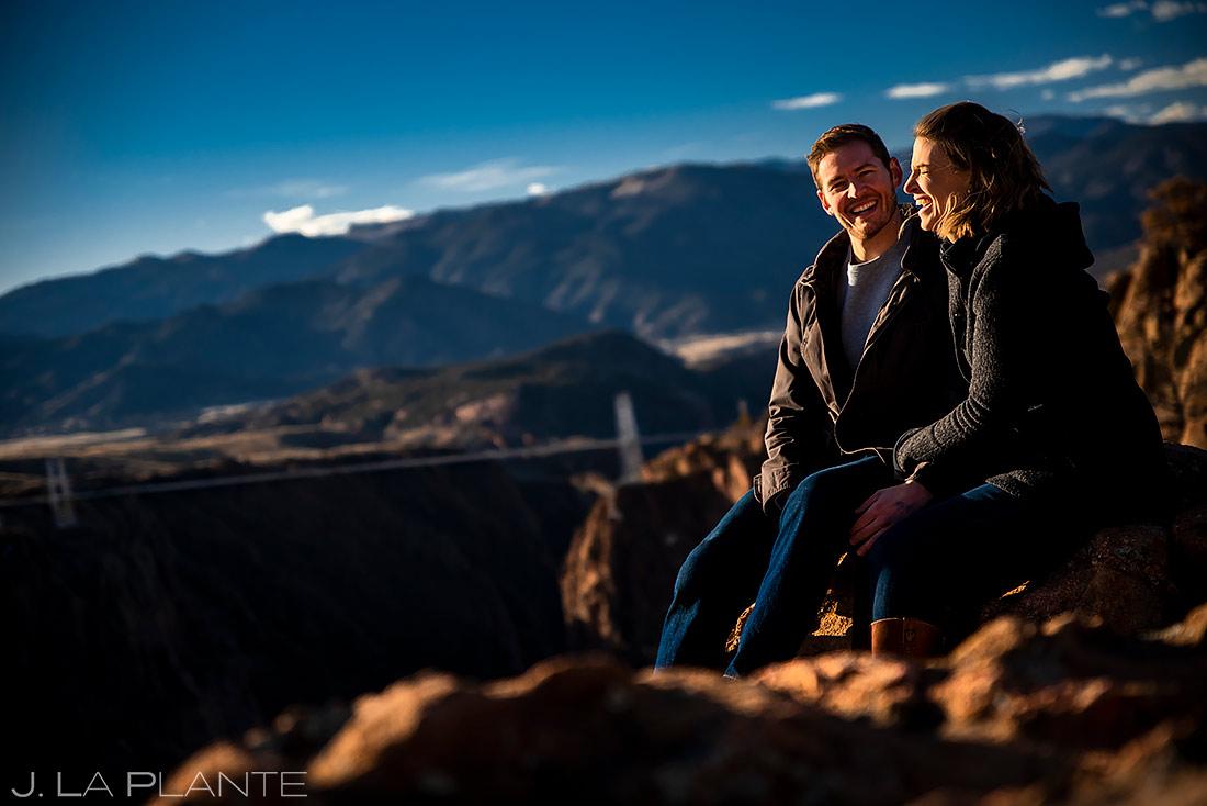 Bride and Groom at the Royal Gorge Bridge | Colorado Engagement | Colorado Wedding Photographer | J. La Plante Photo