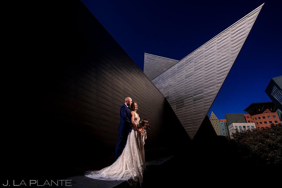 Unique Portrait of Bride and Groom   Denver Art Museum Wedding   Denver Wedding Photographer   J. La Plante Photo