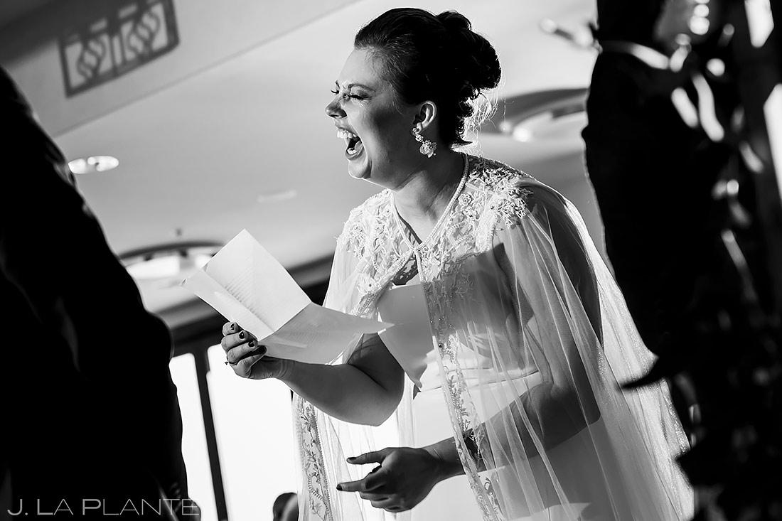 Bride Laughing During Ceremony | Urban Wedding | Colorado Springs Wedding Photographer | J. La Plante Photo