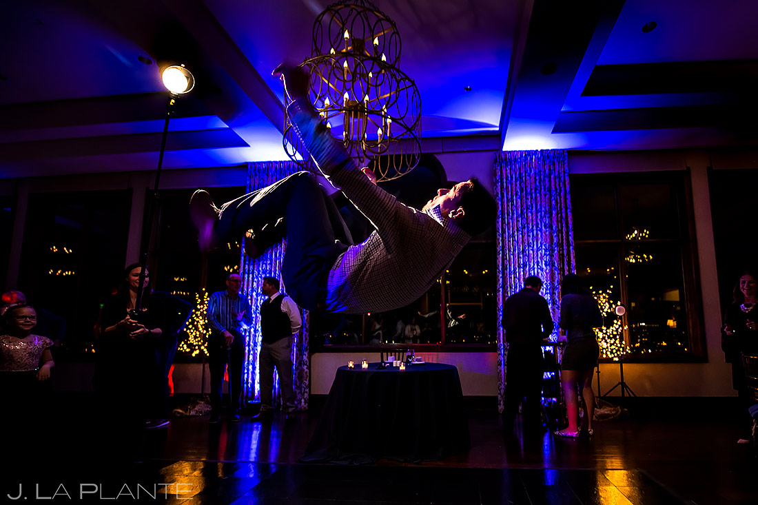 Wedding Guest Doing a Flip | Pinery at the Hill Wedding | Colorado Springs Wedding Photographer | J. La Plante Photo