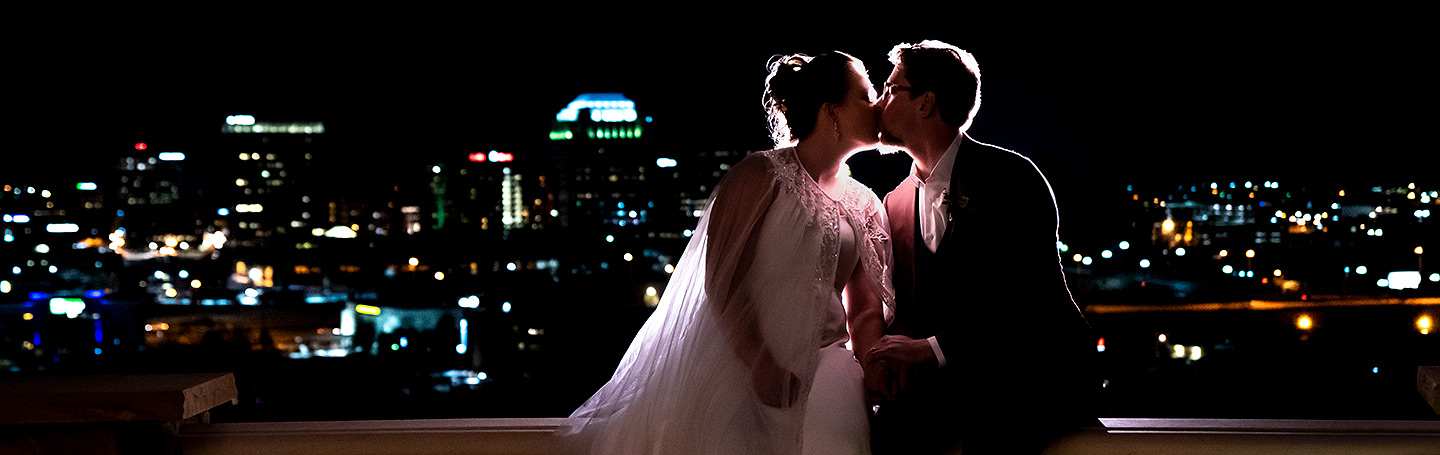 Nighttime Photo of Bride and Groom | Pinery at the Hill Wedding | Colorado Springs Wedding Photographer | J. La Plante Photo