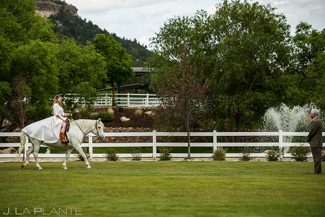 Bride Riding White Horse   Crooked Willow Farms Wedding   Colorado Wedding Photographer   J. La Plante Photo