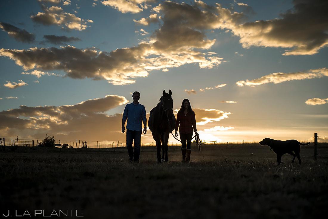 Bride and Groom with Horse   Colorado Horse Ranch Engagement   Colorado Wedding Photographer   J. La Plante Photo
