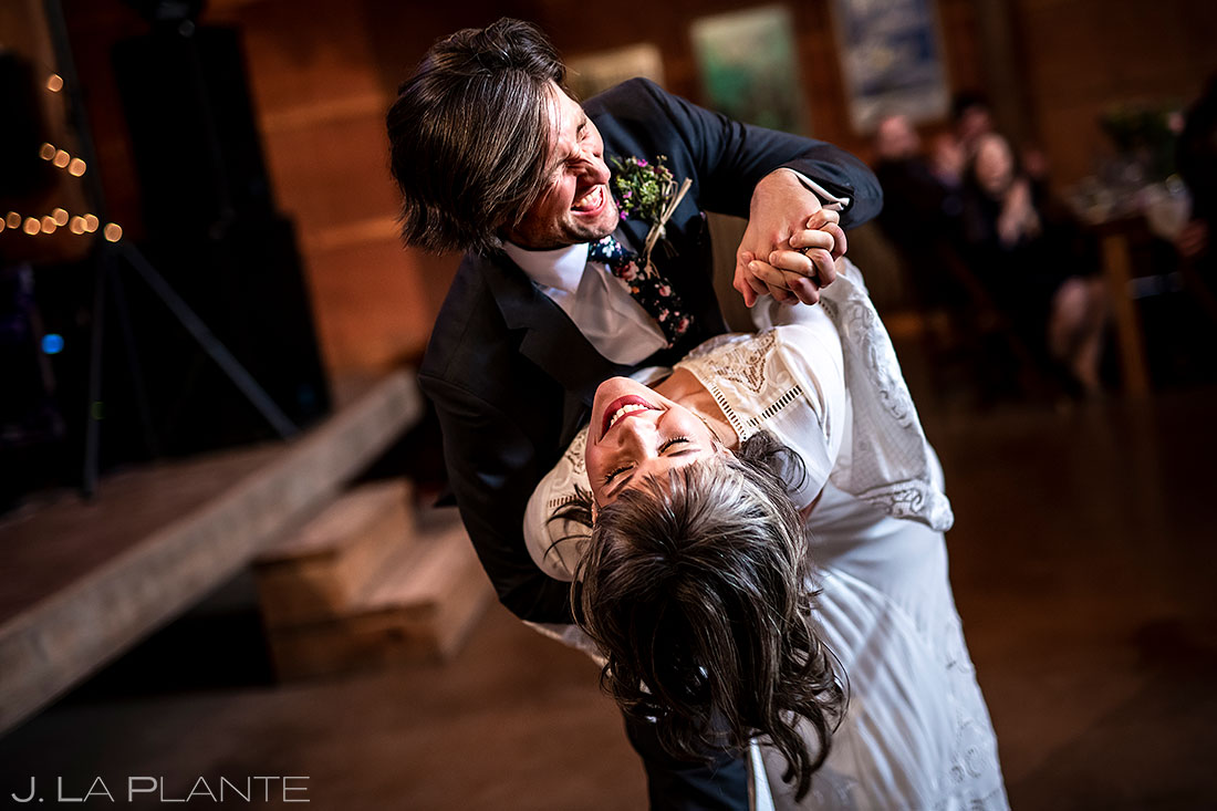 Planet Bluegrass wedding bride and groom first dance wedding photos that will put a smile on your face