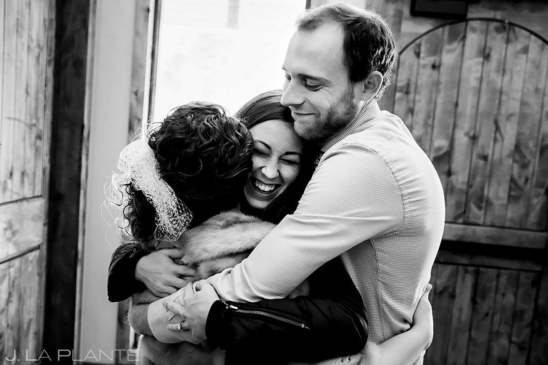 Lodge at Cathedral Pines wedding hugs