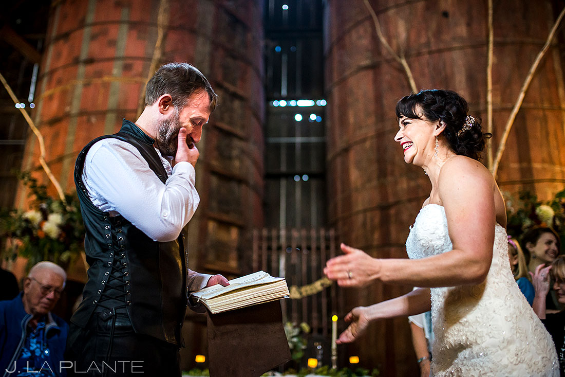 bellingham washington wedding groom crying during ceremony candid wedding photography