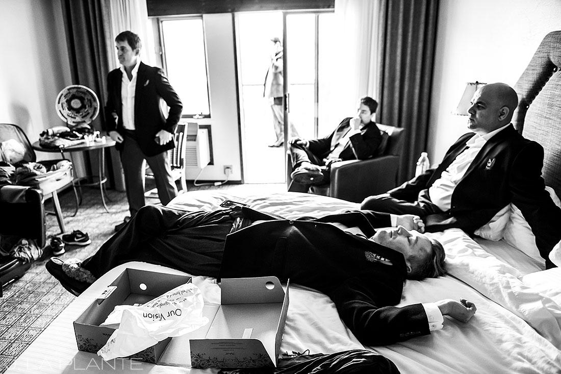 Table Mountain Inn wedding groomsmen hanging out