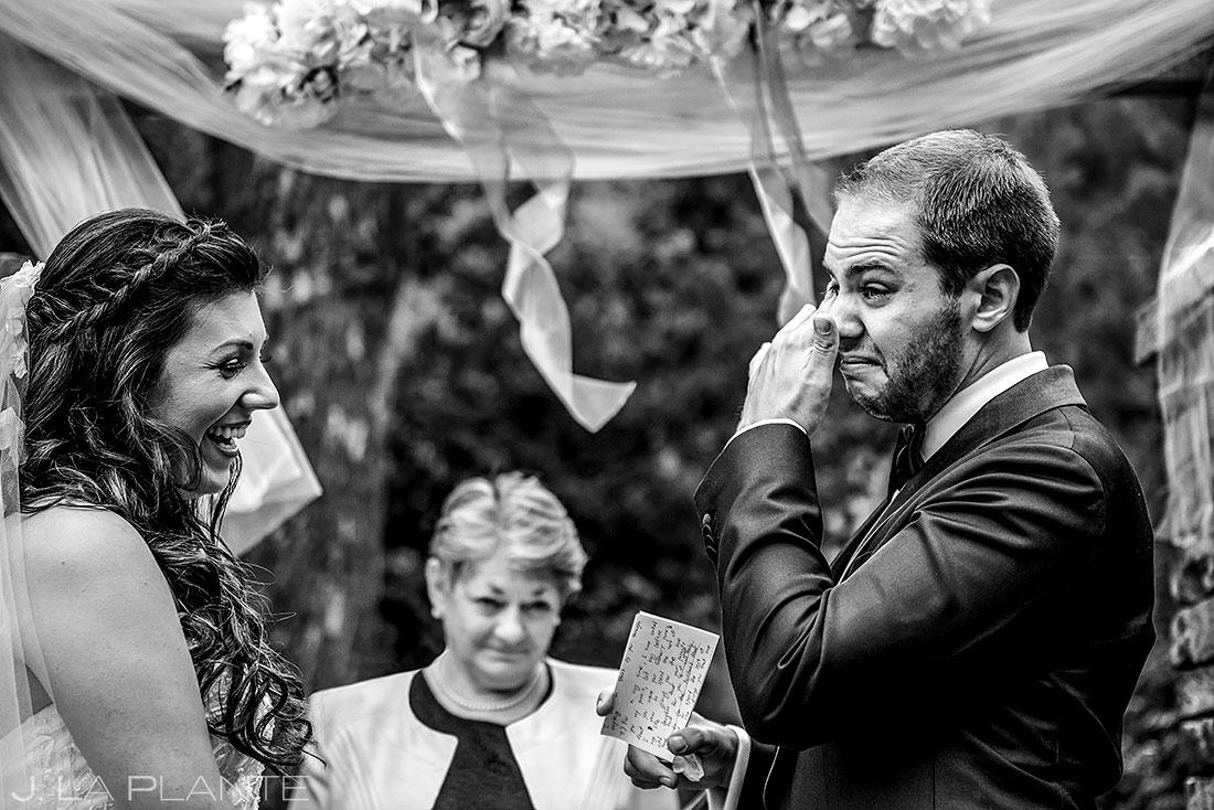 wedgewood boulder wedding groom crying during ceremony | candid wedding photography