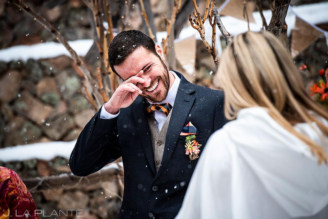 sunshine mountain lodge wedding room cries seeing bride candid wedding photography