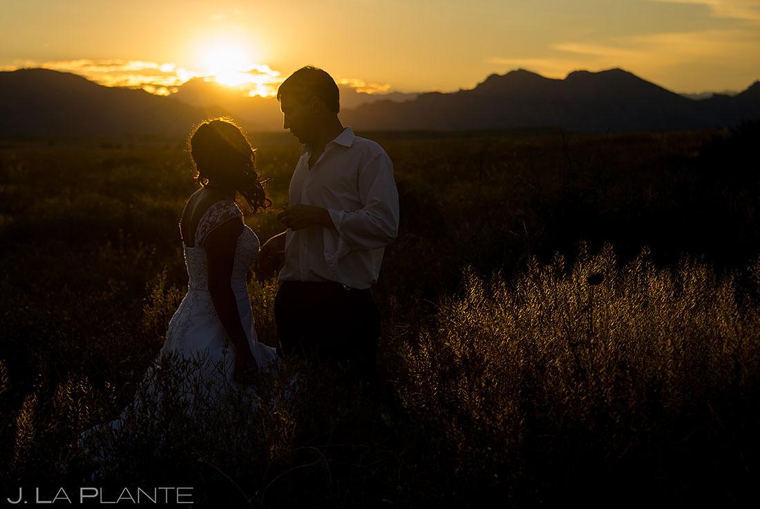 denver wedding bride and groom sunset wedding photo