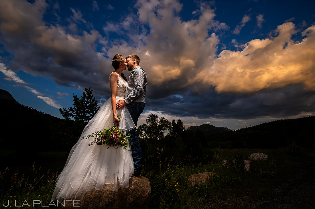 estes park wedding bride and groom in Rocky Mountain National Park