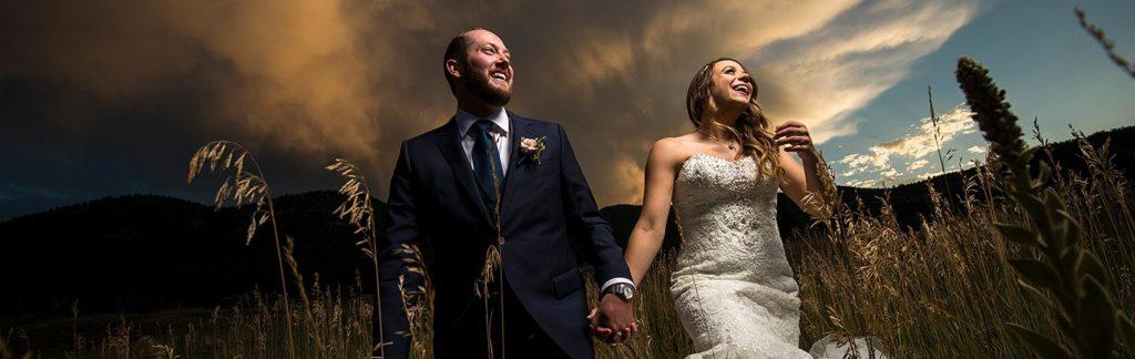 mon cheri wedding bride and groom sunset wedding photo