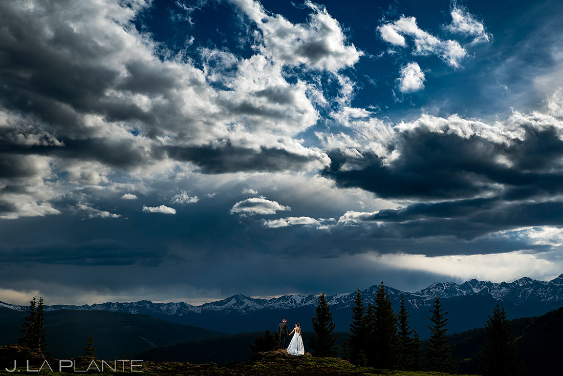 epic wedding photo bride and groom at camp hale