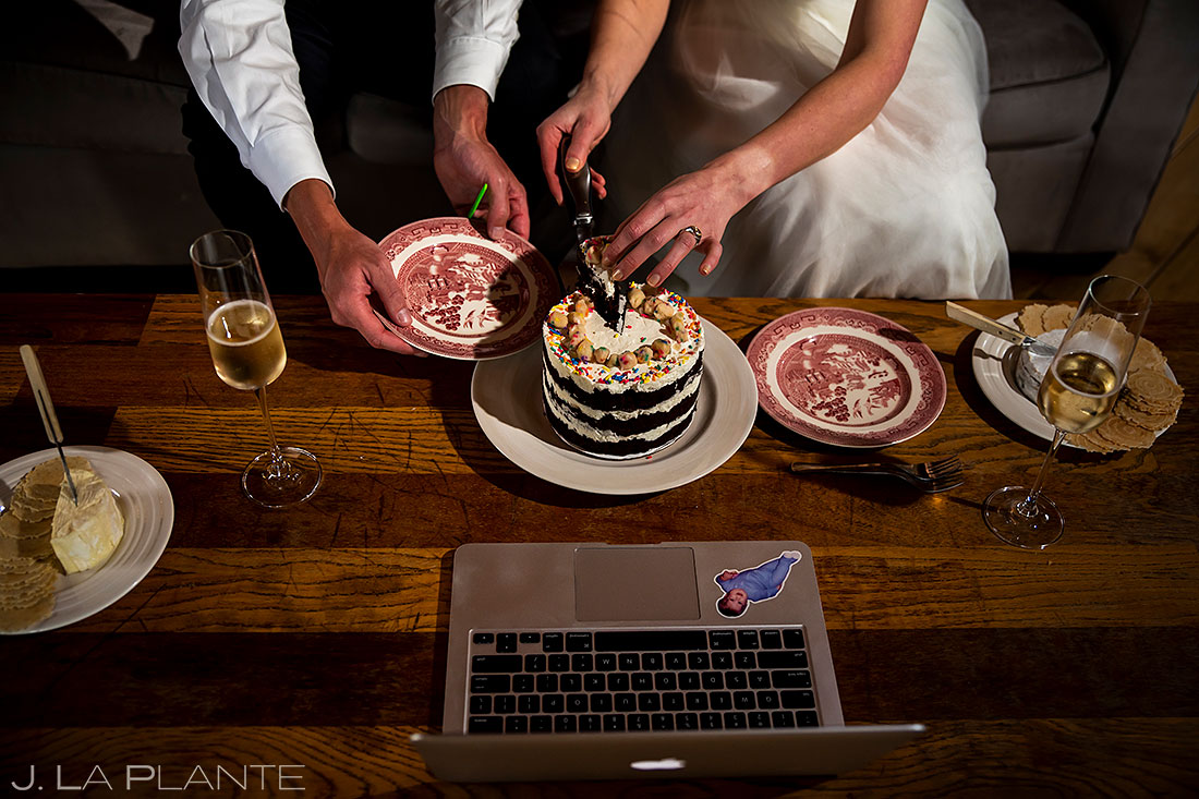 cutting cake at home elopement