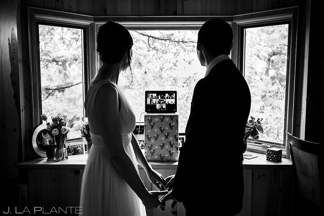 bride and groom streaming elopement