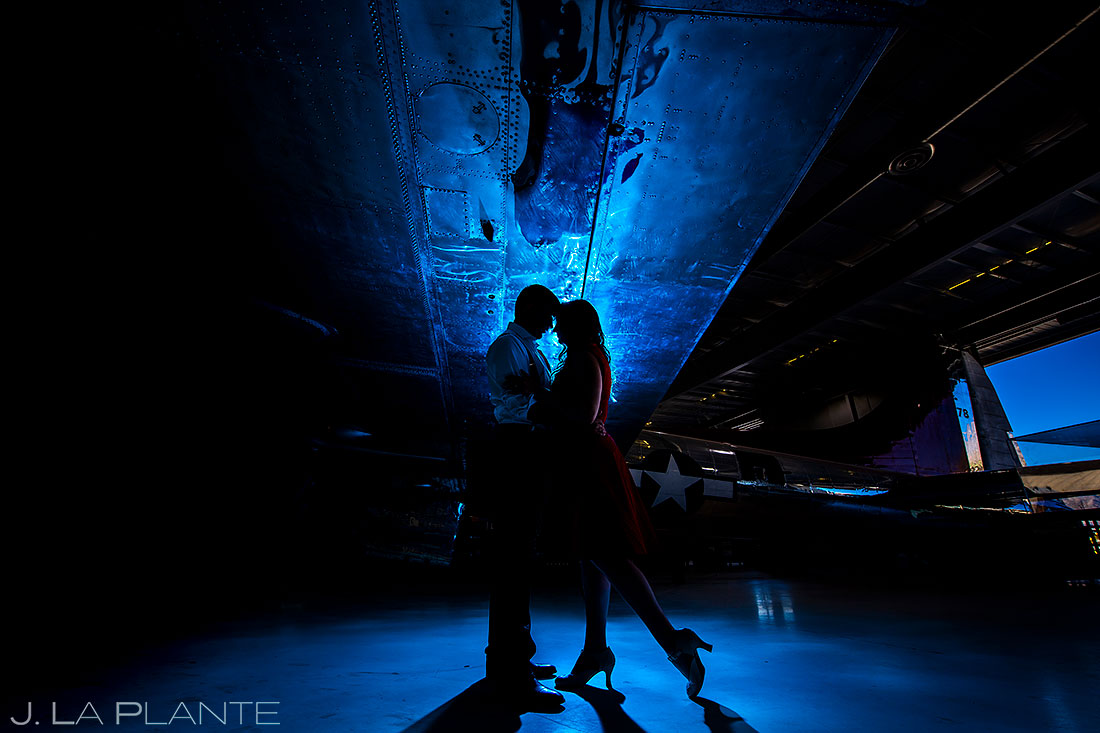 engagement photo session at the palm springs air museum