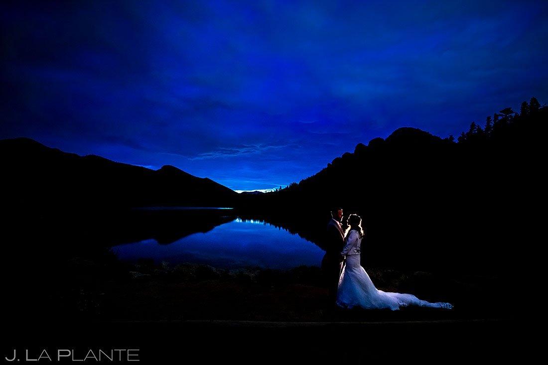 blue hour wedding photos at lily lake in estes park colorado