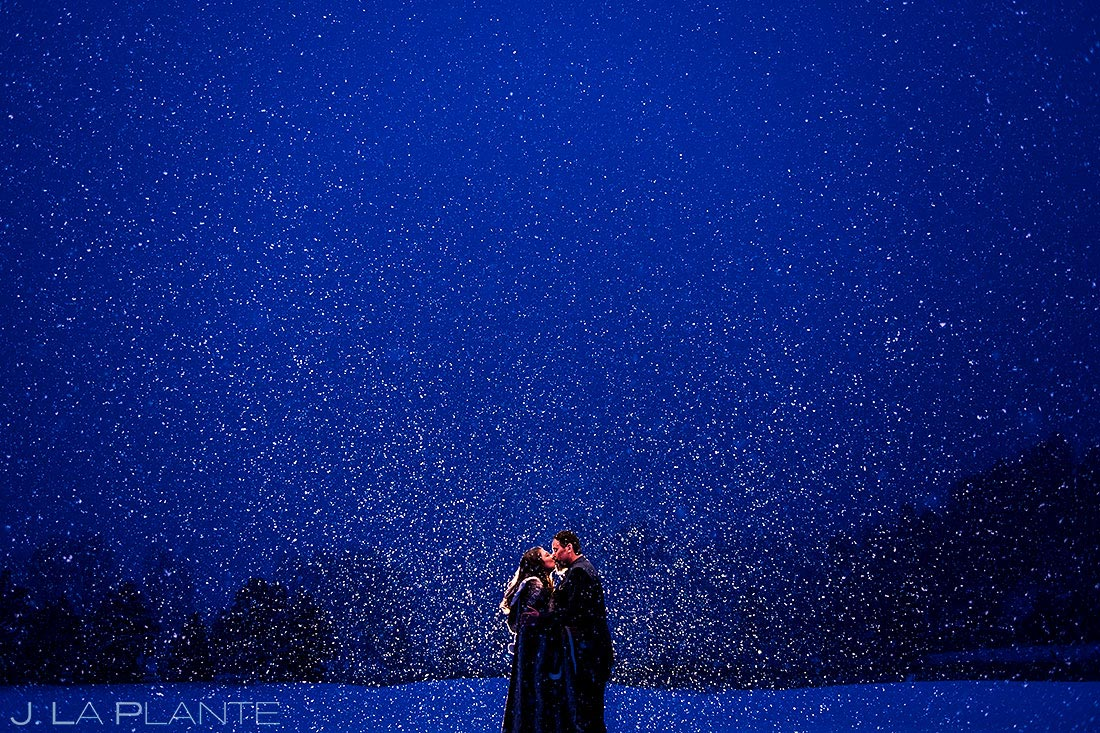 snowy winter wedding at the evergreen lake house