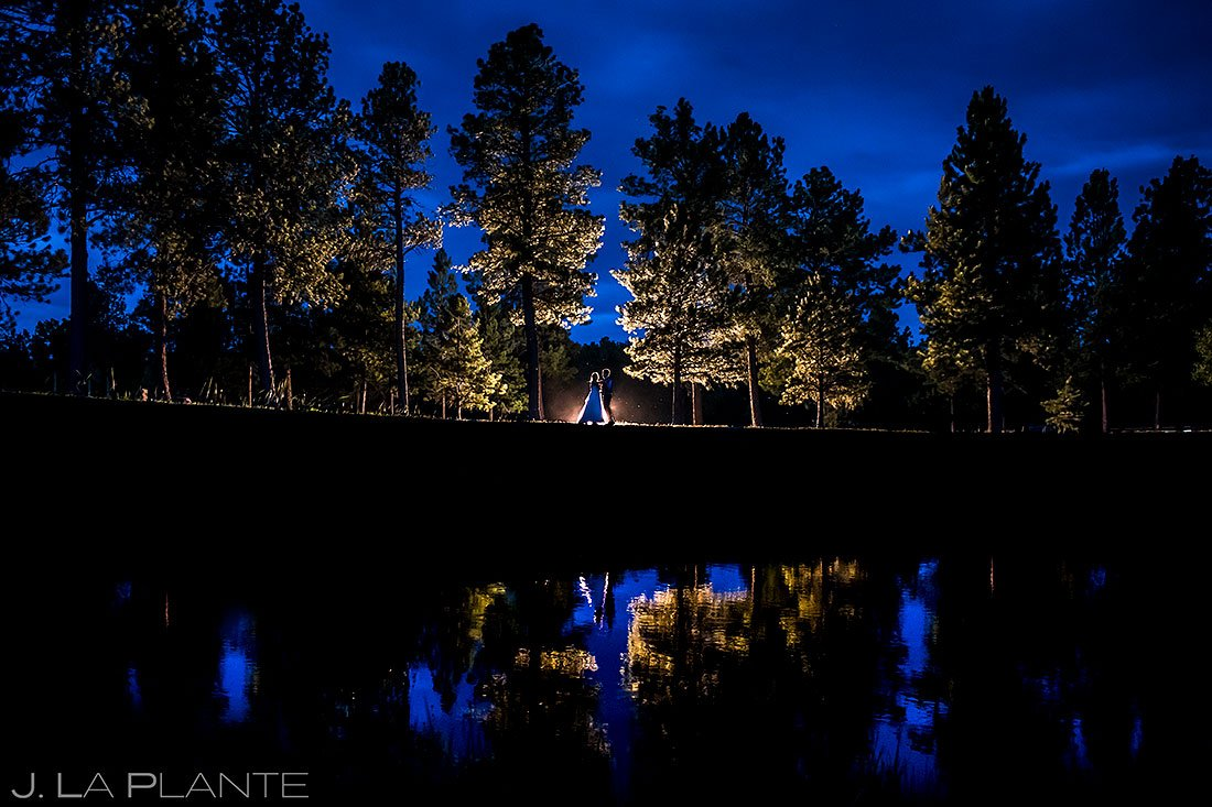 lodge at cathedral pines blue hour wedding photos