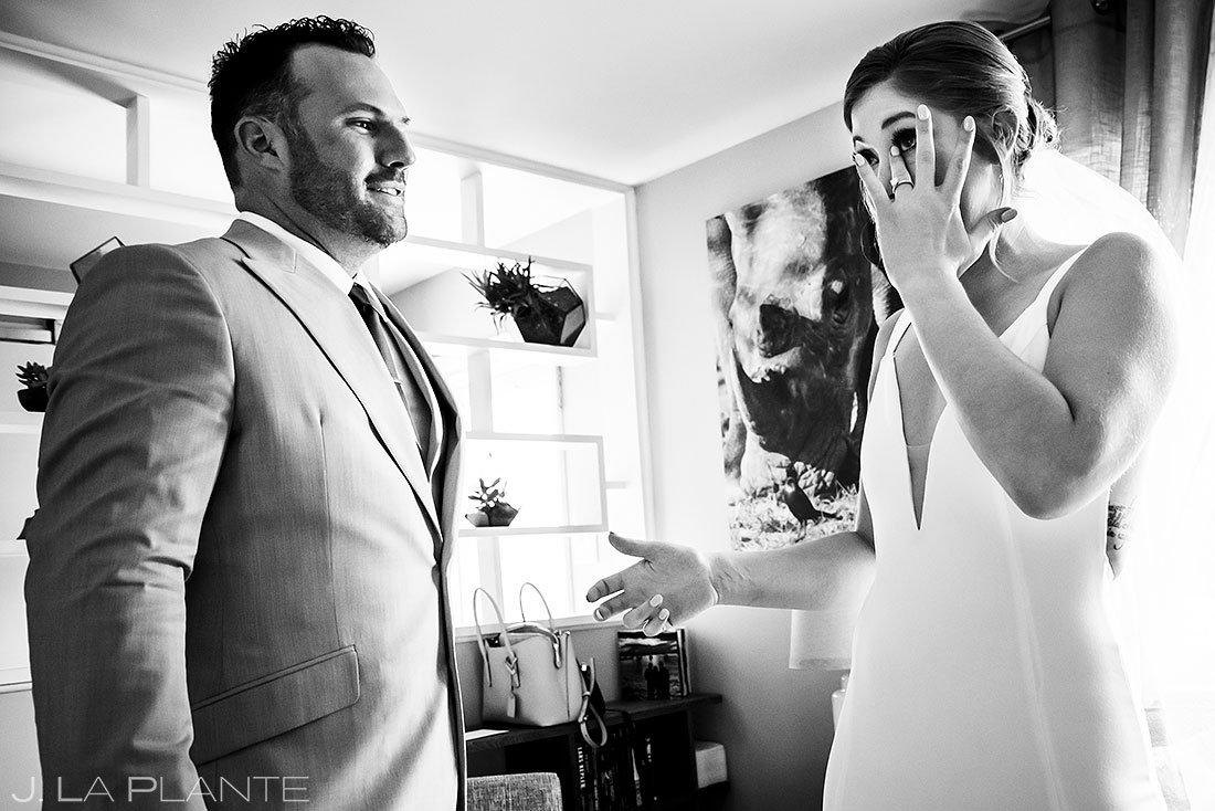 bride and groom foot look before denver micro wedding