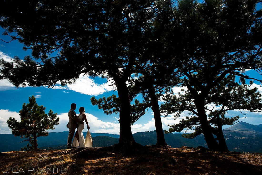 silhouette photo of bride and groom on mountaintop