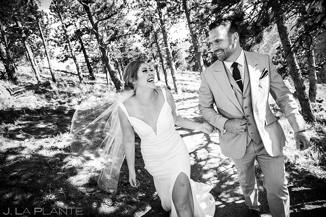 bride and groom hiking outside of boulder colorado