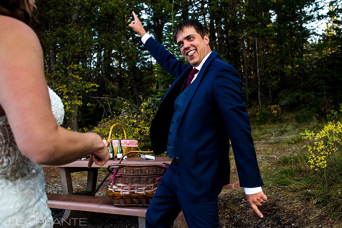 groom dancing during grand teton elopement