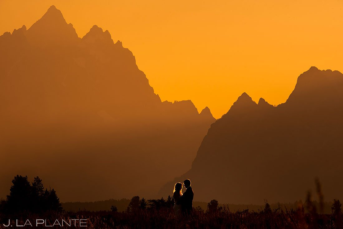 sunset wedding photo of bride and groom at the grand tetons