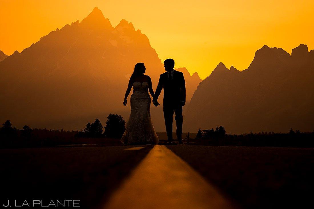 golden hour wedding photo of bride and groom