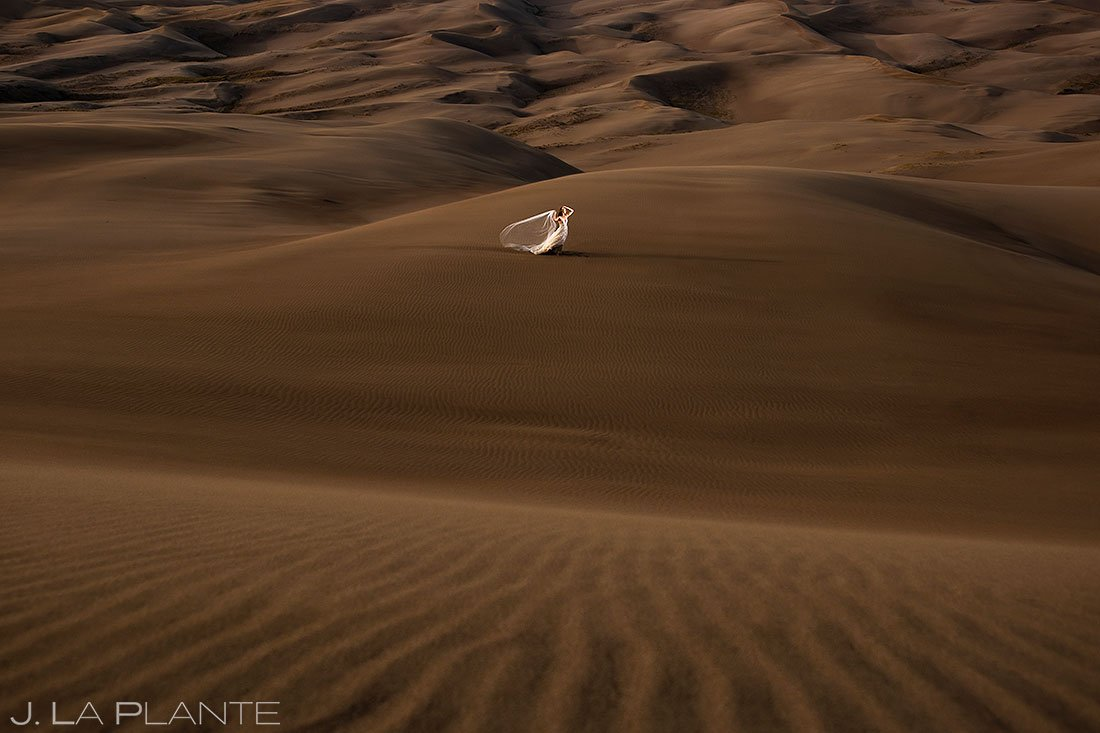 post wedding photoshoot bridal portrait at the great sand dunes in colorado