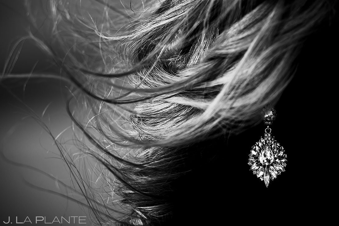 detail photo of bride's earrings